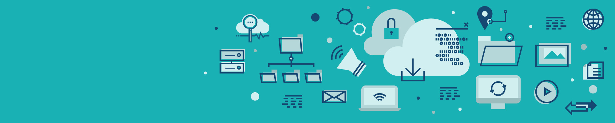 Image of cloud technology icons such as clouds, locks, laptops, servers, computers, data analyzation, data tracking, data filing, among others.
