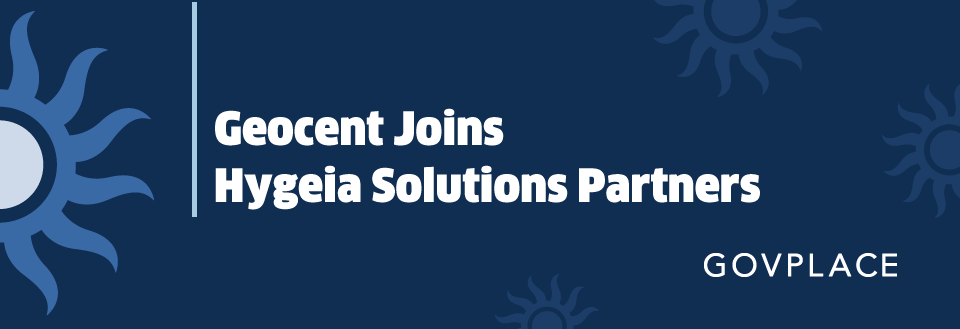 Geocent Joins Hygeia Solutions Partners. Image of Hygeia logo of a greek-style sun floating around in the background.